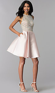 Image of a-line short rhinestone-bodice homecoming dress. Style: BL-C1112 Detail Image 3