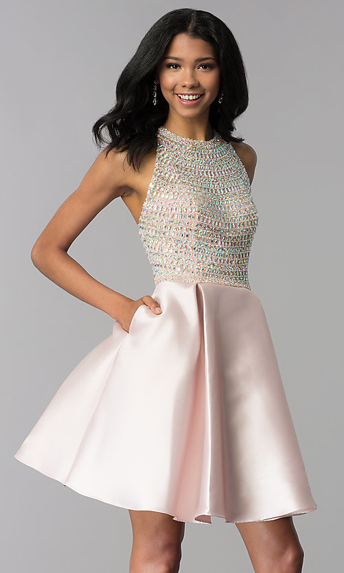 Image of a-line short rhinestone-bodice homecoming dress. Style: BL-C1112 Detail Image 1