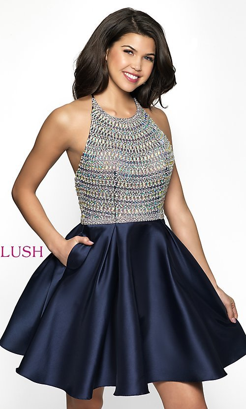 Image of a-line short rhinestone-bodice homecoming dress. Style: BL-C1112 Front Image
