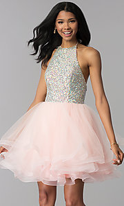 Image of embellished halter short homecoming party dress. Style: BL-C1124 Front Image