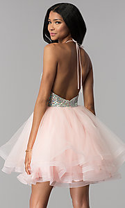 Image of embellished halter short homecoming party dress. Style: BL-C1124 Back Image