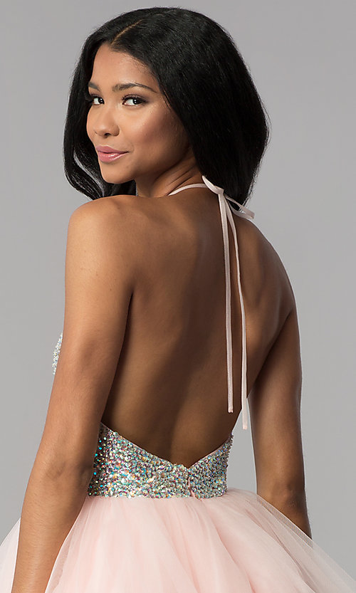 Image of embellished halter short homecoming party dress. Style: BL-C1124 Detail Image 2