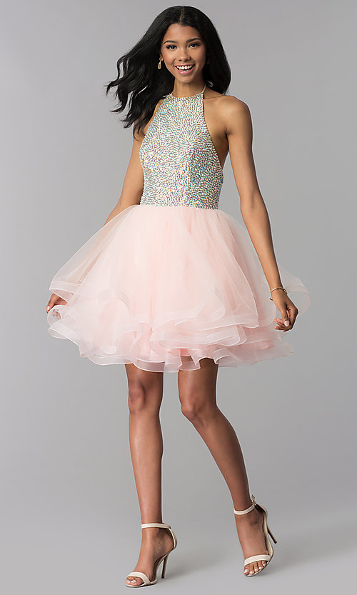 Image of embellished halter short homecoming party dress. Style: BL-C1124 Detail Image 3