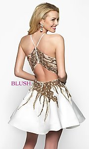 Image of fit-and-flare open-back short homecoming dress. Style: BL-11606 Back Image