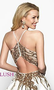 Image of fit-and-flare open-back short homecoming dress. Style: BL-11606 Detail Image 2