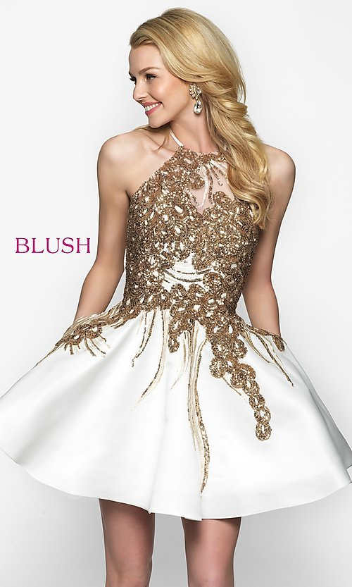 Image of fit-and-flare open-back short homecoming dress. Style: BL-11606 Front Image