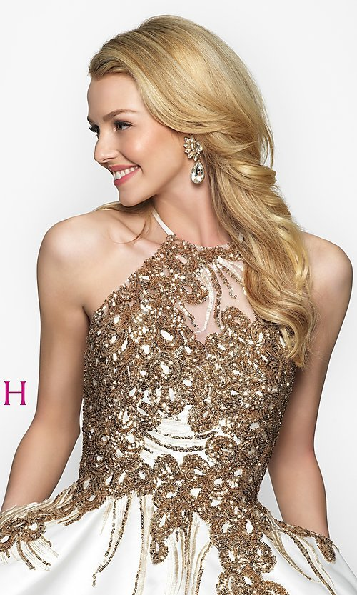 Image of fit-and-flare open-back short homecoming dress. Style: BL-11606 Detail Image 1