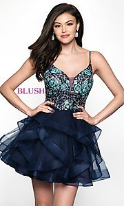 Image of short v-neck babydoll-style homecoming dress. Style: BL-11613 Front Image