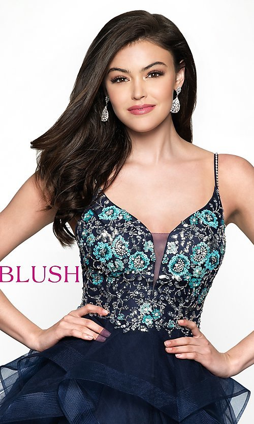 Image of short v-neck babydoll-style homecoming dress. Style: BL-11613 Detail Image 1