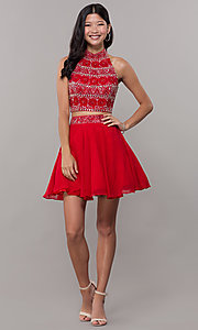 Image of t-back two-piece short homecoming dress. Style: BL-11623 Detail Image 3