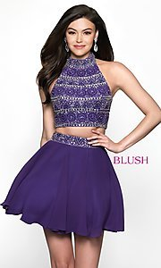 Image of t-back two-piece short homecoming dress. Style: BL-11623 Front Image
