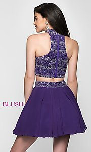 Image of t-back two-piece short homecoming dress. Style: BL-11623 Back Image