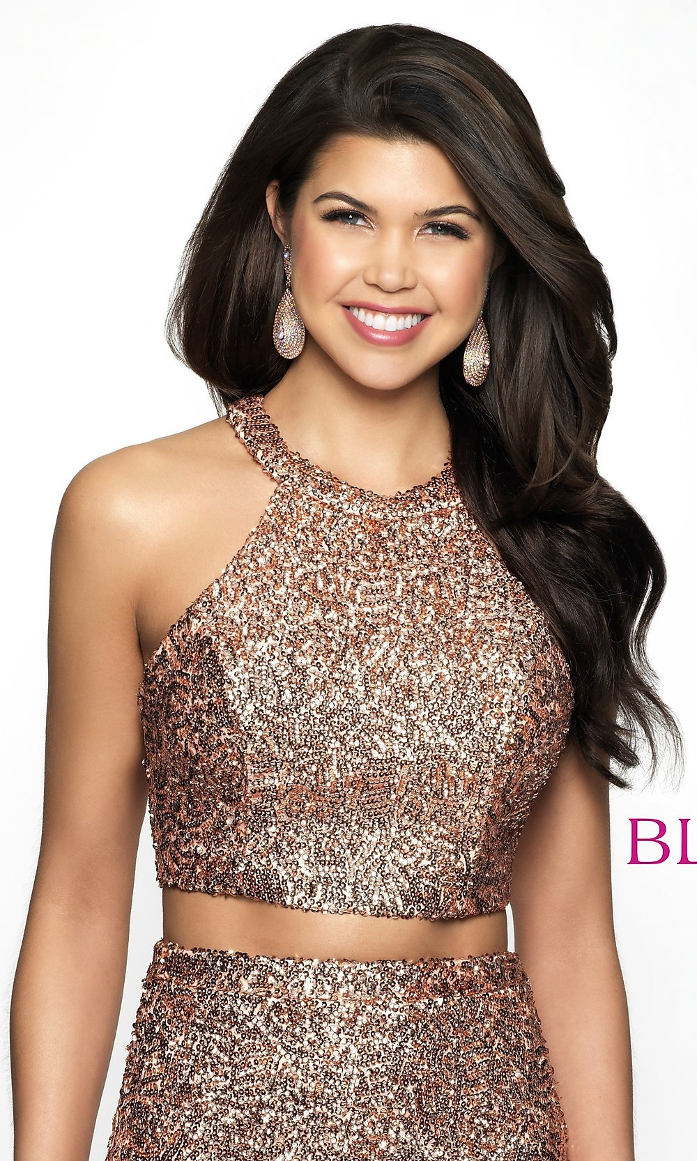 94b2e5a4 Image of rose gold racerback sequin homecoming dress by blush. Style:  BL-B112. Tap to expand