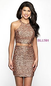 Image of rose gold racerback sequin homecoming dress by blush. Style: BL-B112 Front Image