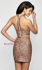 Image of rose gold racerback sequin homecoming dress by blush. Style: BL-B112 Back Image