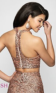 Image of rose gold racerback sequin homecoming dress by blush. Style: BL-B112 Detail Image 2