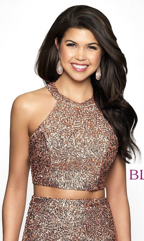 Image of rose gold racerback sequin homecoming dress by blush. Style: BL-B112 Detail Image 1