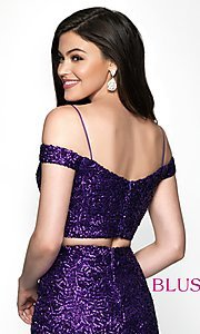 Image of short sequin off-the-shoulder homecoming dress. Style: BL-B113 Detail Image 2