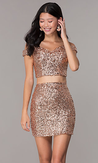 Short Sequin Off-the-Shoulder Homecoming Dress