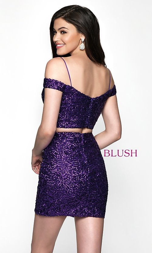 Image of short sequin off-the-shoulder homecoming dress. Style: BL-B113 Back Image