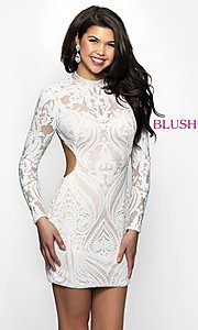 Image of open-back short sequin homecoming dress. Style: BL-B114 Front Image