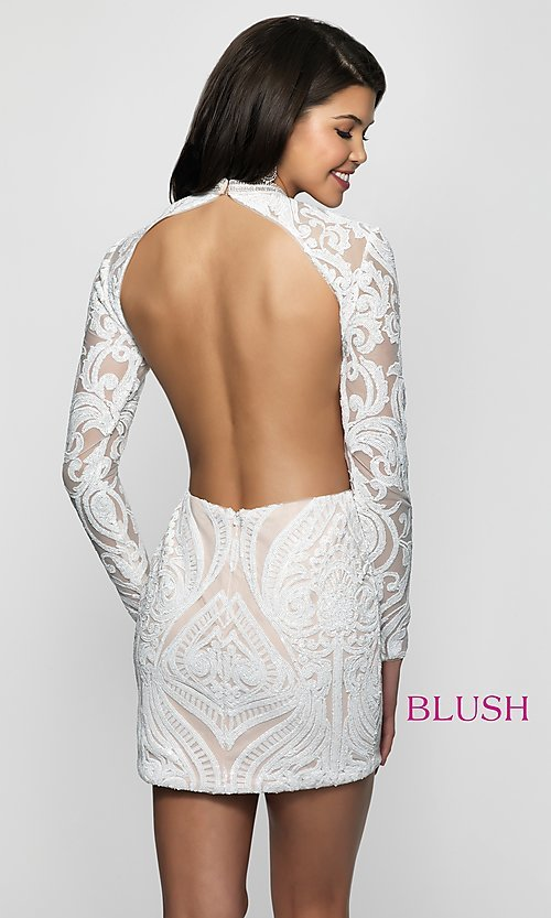 Image of open-back short sequin homecoming dress. Style: BL-B114 Back Image