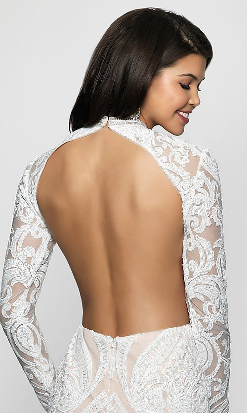Image of open-back short sequin homecoming dress. Style: BL-B114 Detail Image 2
