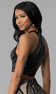 Image of two-piece sequin-top racerback homecoming dress. Style: BL-B115 Detail Image 2