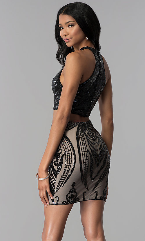 Image of two-piece sequin-top racerback homecoming dress. Style: BL-B115 Back Image
