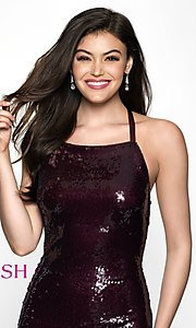 Image of sequin homecoming dress with straight neckline. Style: BL-B125 Detail Image 1