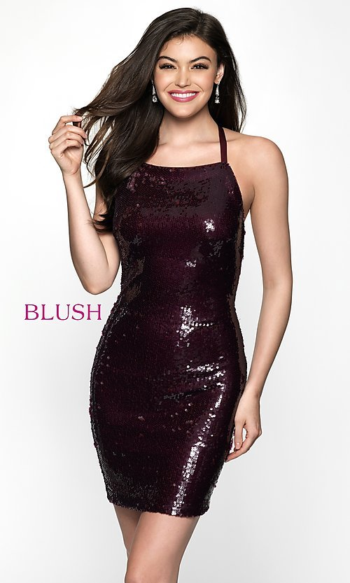 Image of sequin homecoming dress with straight neckline. Style: BL-B125 Front Image