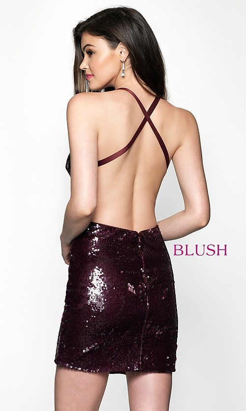 Image of sequin homecoming dress with straight neckline. Style: BL-B125 Back Image
