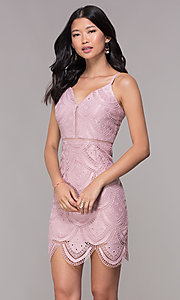 Image of short lace party dress with scalloped pattern. Style: MT-9105 Front Image