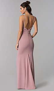 Image of long faux-wrap v-neck prom dress. Style: MCR-2601 Detail Image 2