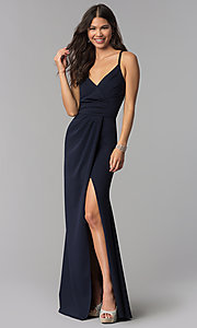 Image of long faux-wrap v-neck prom dress. Style: MCR-2601 Front Image