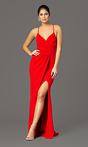 Image of long faux-wrap v-neck prom dress. Style: MCR-2601 Detail Image 3