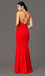 Image of long faux-wrap v-neck prom dress. Style: MCR-2601 Detail Image 4