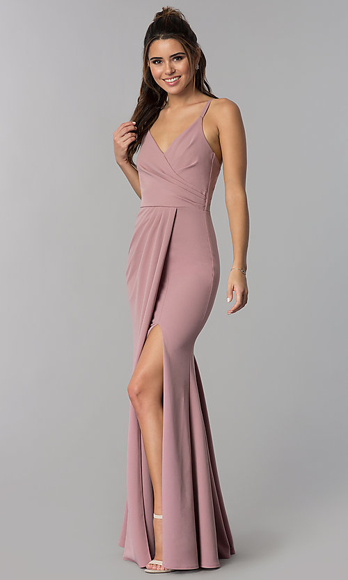 Image of long faux-wrap v-neck prom dress. Style: MCR-2601 Detail Image 1