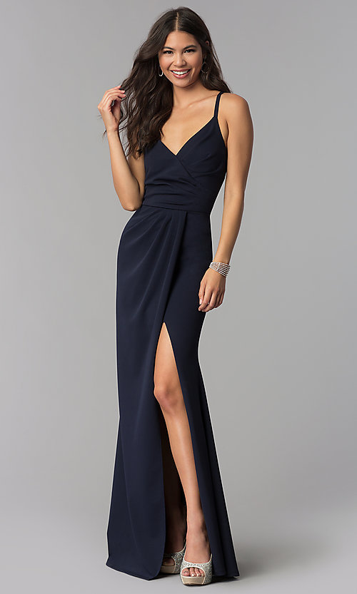 e95e7416da Sleeveless Faux-Wrap Long V-Neck Prom Dress - PromGirl