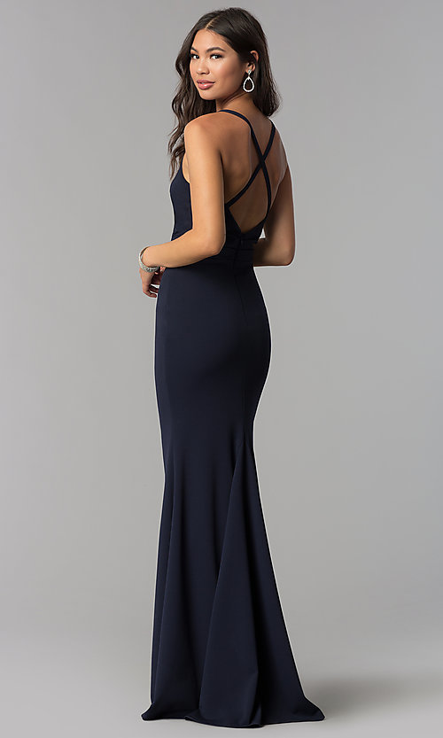 Image of long faux-wrap v-neck prom dress. Style: MCR-2601 Back Image