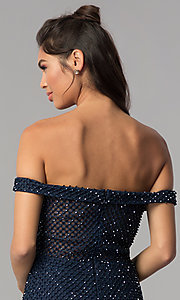 Image of off-shoulder short beaded jersey homecoming dress. Style: JOJ-JE-18533 Detail Image 2