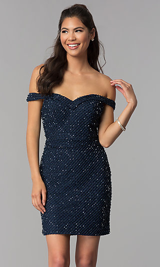 Off-Shoulder Short Beaded Jersey Homecoming Dress