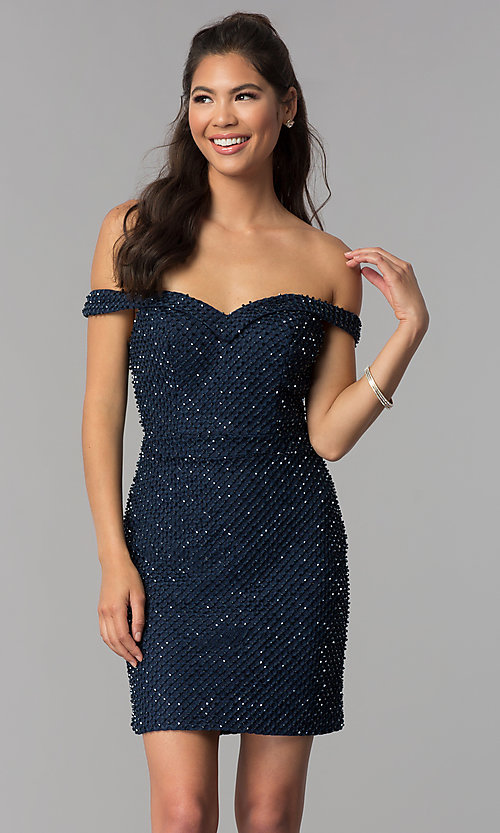 Image of off-shoulder short beaded jersey homecoming dress. Style: JOJ-JE-18533 Front Image