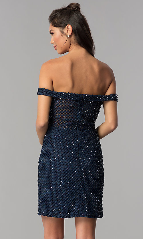 Image of off-shoulder short beaded jersey homecoming dress. Style: JOJ-JE-18533 Back Image