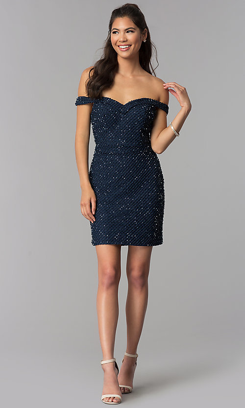 Image of off-shoulder short beaded jersey homecoming dress. Style: JOJ-JE-18533 Detail Image 3