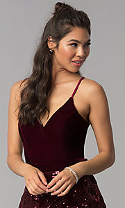 Image of short tiered v-neck burgundy velvet homecoming dress. Style: JOJ-JE-18517 Detail Image 1