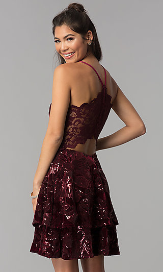 Short Tiered V-Neck Burgundy Velvet Homecoming Dress