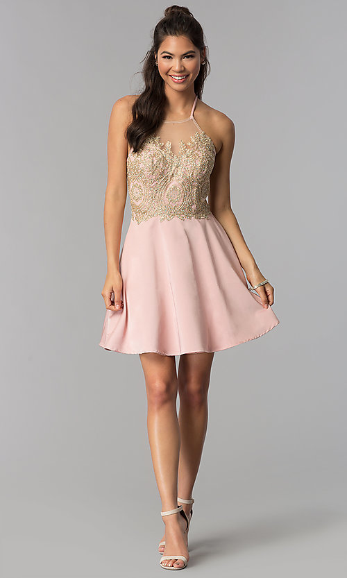 Image of short embroidered high-neck halter homecoming dress. Style: JOJ-JE-18545 Detail Image 3
