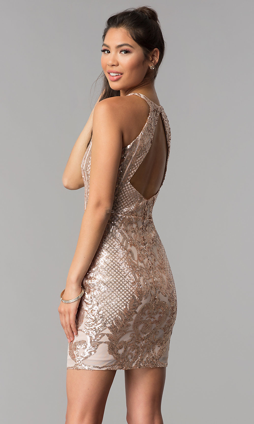 rose gold pink short sequin homecoming dress promgirl
