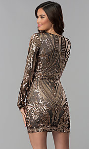 Image of long-sleeve short sequin homecoming dress. Style: JOJ-JE-18559 Back Image